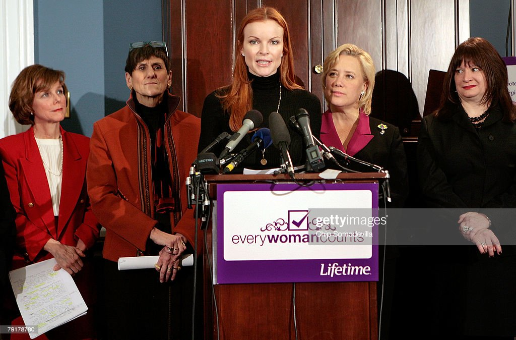 Marcia Cross (C), actress from ABC's 'Desperate Housewives,' delivers comments during a news conference with (L-R) Dr. Kristen Zarfos, Rep. Rosa DeLauro (D-CT), Sen. Mary Landrieu (D-LA) and Lifetime Networks public affiars Vice President Meredith Wagner to raise awareness of the Breast Cancer Patient Protection Act on Capitol Hill January 23, 2008 in Washington, DC. Representing the Lifetime television network, Cross delivered 20 million signatures collected online that urge Congress to pass legislation to stop 'drive-through' mastectomies. Cross and other celebrities have joined Lifetime's 'Every Woman Counts' initiative to encourage women to vote, run for office and raise awarness of breast cancer.