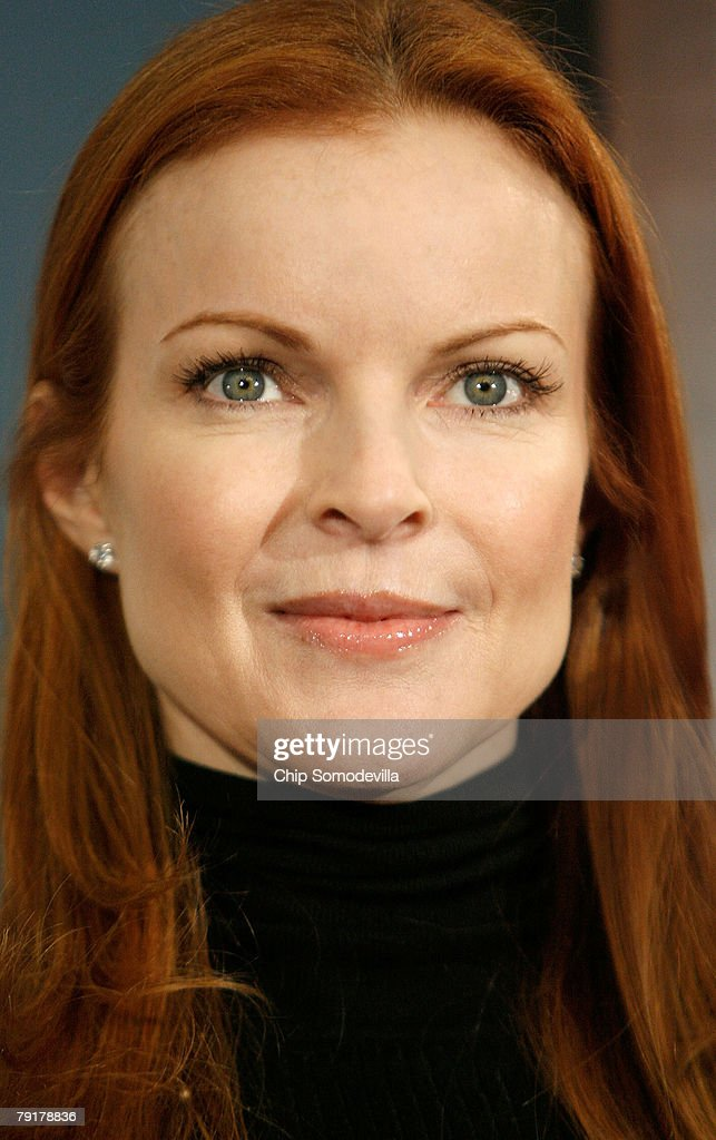 Marcia Cross, actress from ABC's 'Desperate Housewives,' participates in a news conference to raise awareness of the Breast Cancer Patient Protection Act on Capitol Hill January 23, 2008 in Washington, DC. Representing the Lifetime television network, Cross delivered 20 million signatures collected online that urge Congressto pass legislation to stop 'drive-through' mastectomies. Cross and other celebrities have joined Lifetime's 'Every Woman Counts' initiative to encourage women to vote, run for office and raise awarness of breast cancer.