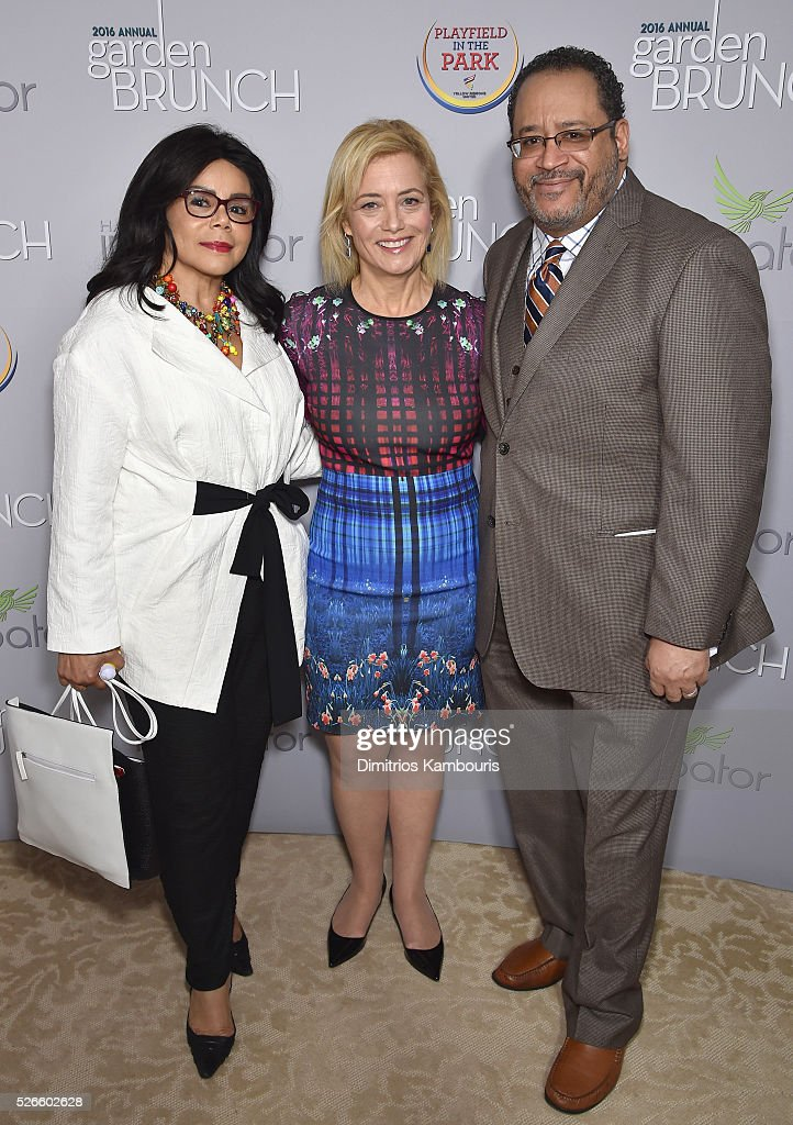 Marcia Dyson, Hilary Rosen, and Michael Eric Dyson attend the Garden Brunch prior to the 102nd White House Correspondents' Association Dinner at the Beall-Washington House on April 30, 2016 in Washington, DC.