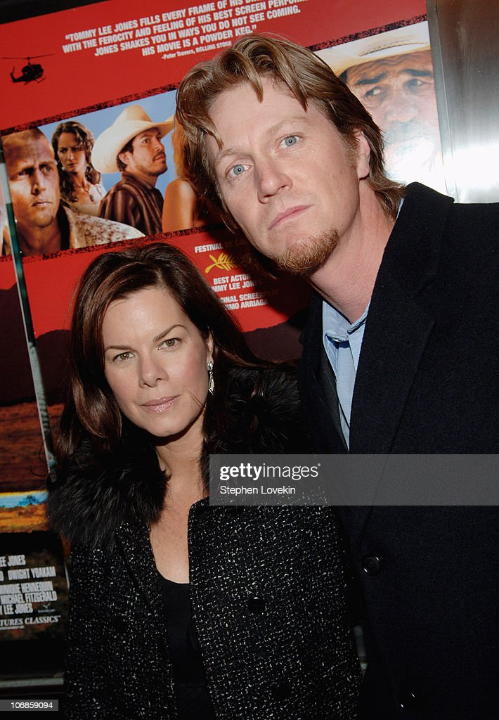 Marcia Gay Harden and husband Thaddeus during 'The Three Burials of Melquiades Estrada' New York City Premiere - Inside Arrivals at The Paris Theatre in New York City, New York, United States.