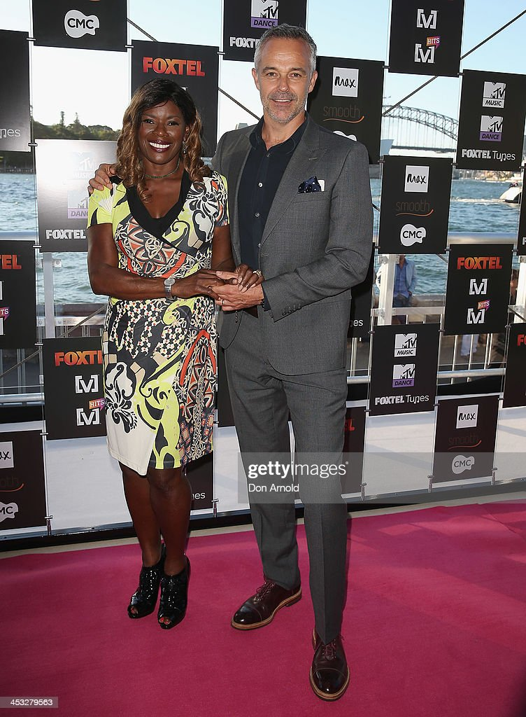 <a gi-track='captionPersonalityLinkClicked' href=/galleries/search?phrase=Marcia+Hines&family=editorial&specificpeople=214612 ng-click='$event.stopPropagation()'>Marcia Hines</a> and Cameron Daddo arrive at the Foxtel Music Channels Summer Launch at the Botanic Gardens on December 3, 2013 in Sydney, Australia.