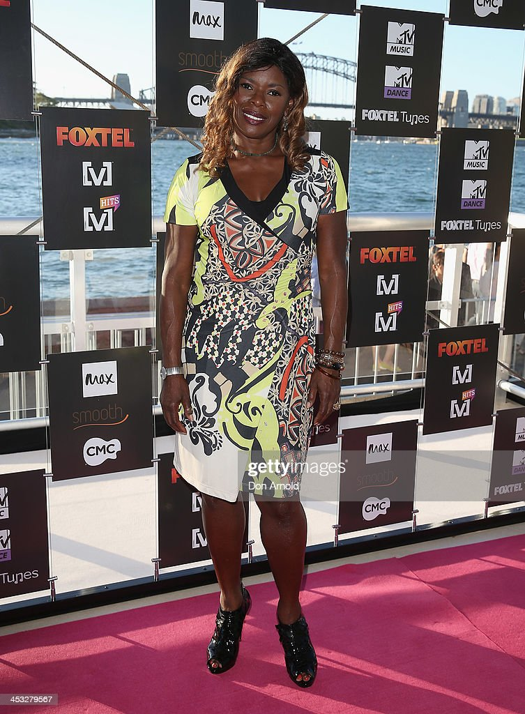 <a gi-track='captionPersonalityLinkClicked' href=/galleries/search?phrase=Marcia+Hines&family=editorial&specificpeople=214612 ng-click='$event.stopPropagation()'>Marcia Hines</a> arrives at the Foxtel Music Channels Summer Launch at the Botanic Gardens on December 3, 2013 in Sydney, Australia.