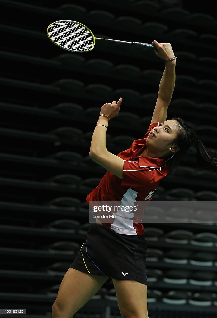 Marcia Ho of New Zealand in action during qualifying for the New Zealand Badminton Open at North Shore Events Centre on April 10, 2013 in Auckland, New Zealand.