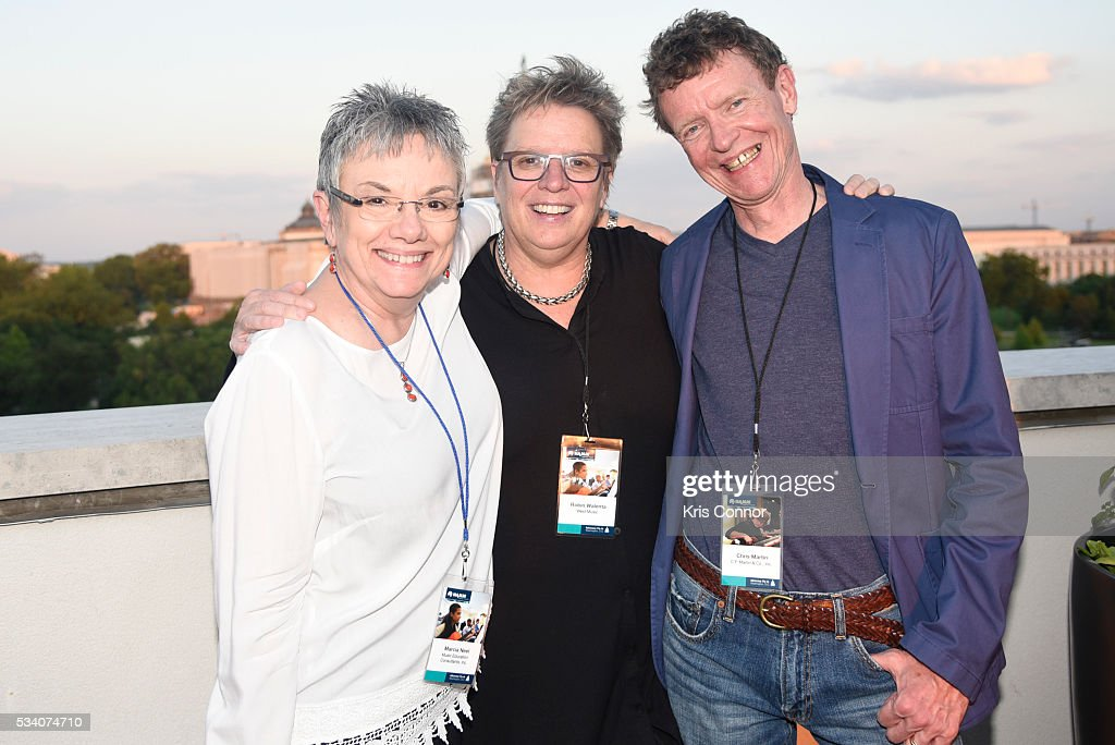 Marcia Neel, Robin Walenta, and Chris Martin pose for a photo during the NAMM TurnAround Arts Artist Reception at Nelson Mullins on May 24, 2016 in Washington DC.