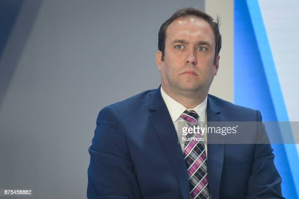 Marcin Animucki CEO of Ekstraklasa SA seen during a panel discussion about Polish Football during Congress 590 in the new Exhibition and Congress...