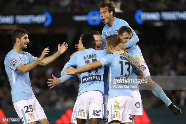 Marcin Budzinski of the City celebrates after scoring a goal during the round two ALeague match between Melbourne Victory and Melbourne City FC at...