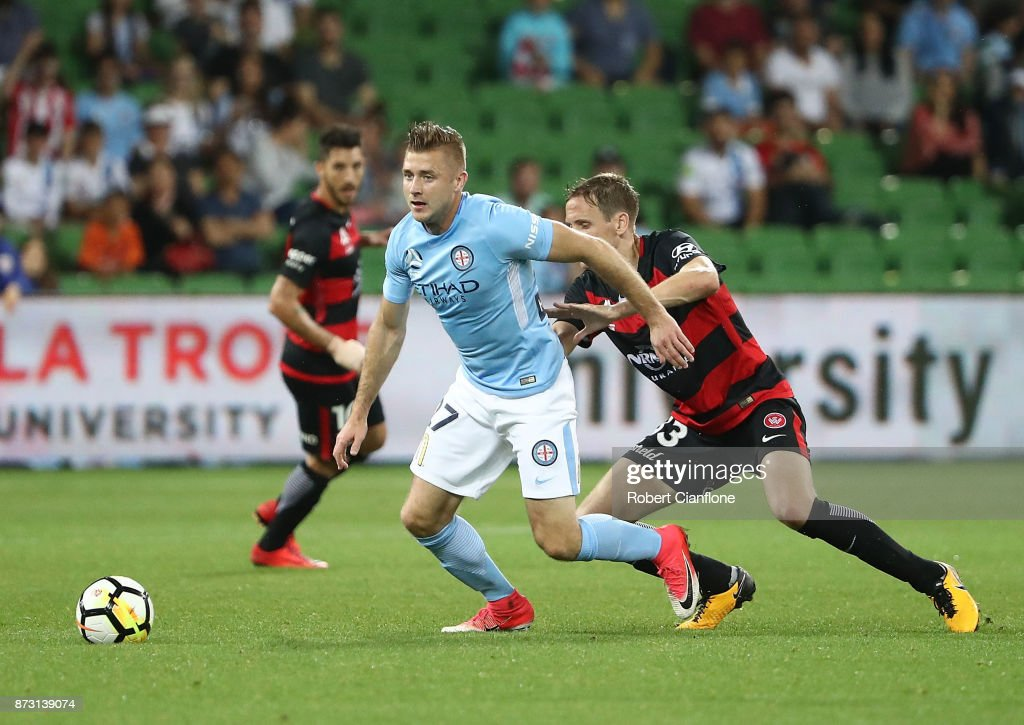 Marcin Budzinski of the City controls the ball during the round six A-League match between Melbourne City and the Western Sydney Wanderers at AAMI Park on November 12, 2017 in Melbourne, Australia.