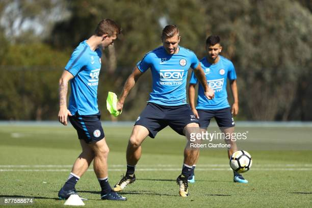 Marcin Budzinski of the City looks to get the ball during a Melbourne City ALeague training session at City Football Academy on November 23 2017 in...