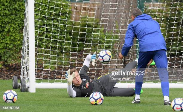 Marcin Bulka of Chelsea in action during a training session at Chelsea Training Ground on July 12 2017 in Cobham England