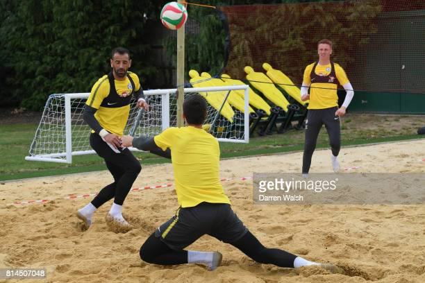 Marcin Bulka Thibaut Courtois Eduardo of Chelsea playing volleyball during a training session at Chelsea Training Ground on July 14 2017 in Cobham...