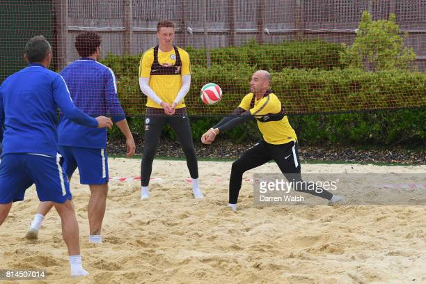 Marcin Bulka Willy Caballero Henrique Hilario of Chelsea playing volleyball during a training session at Chelsea Training Ground on July 14 2017 in...