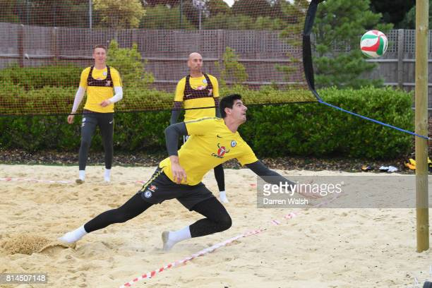 Marcin Bulka Willy Caballero Thibaut Courtois of Chelsea playing volleyball during a training session at Chelsea Training Ground on July 14 2017 in...