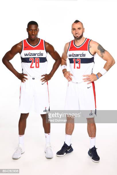 Marcin Gortat and Ian Mahinmi of the Washington Wizards pose for a portrait during Media Day on September 25 2017 at Capital One Center in Washington...