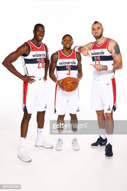 Marcin Gortat Ian Mahinmi and Bradley Beal of the Washington Wizards pose for a portrait during Media Day on September 25 2017 at Capital One Center...