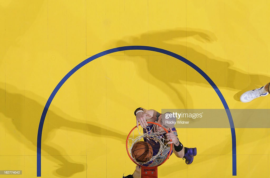 <a gi-track='captionPersonalityLinkClicked' href=/galleries/search?phrase=Marcin+Gortat&family=editorial&specificpeople=589986 ng-click='$event.stopPropagation()'>Marcin Gortat</a> #4 of the Phoenix Suns dunks against the Golden State Warriors on February 20, 2013 at Oracle Arena in Oakland, California.