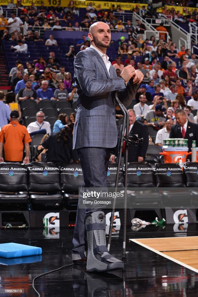 <a gi-track='captionPersonalityLinkClicked' href=/galleries/search?phrase=Marcin+Gortat&family=editorial&specificpeople=589986 ng-click='$event.stopPropagation()'>Marcin Gortat</a> #4 of the Phoenix Suns looks on against the Los Angeles Lakers on March 18, 2013 at U.S. Airways Center in Phoenix, Arizona.