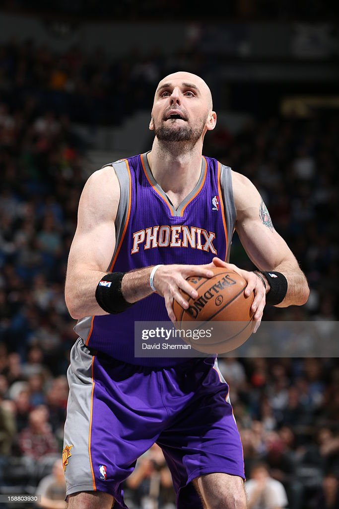 Marcin Gortat #4 of the Phoenix Suns prepares for a free throw during the game between the Minnesota Timberwolves and the Phoenix Suns during the game on December 29, 2012 at Target Center in Minneapolis, Minnesota.
