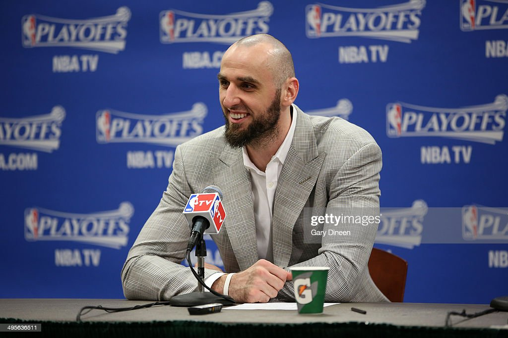 <a gi-track='captionPersonalityLinkClicked' href=/galleries/search?phrase=Marcin+Gortat&family=editorial&specificpeople=589986 ng-click='$event.stopPropagation()'>Marcin Gortat</a> #4 of the Washington Wizards addresses the media after Game Five of the Eastern Conference Semifinals against the Indiana Pacers during the 2014 NBA Playoffs on May 13, 2014 at Bankers Life Fieldhouse in Indianapolis, Indiana.