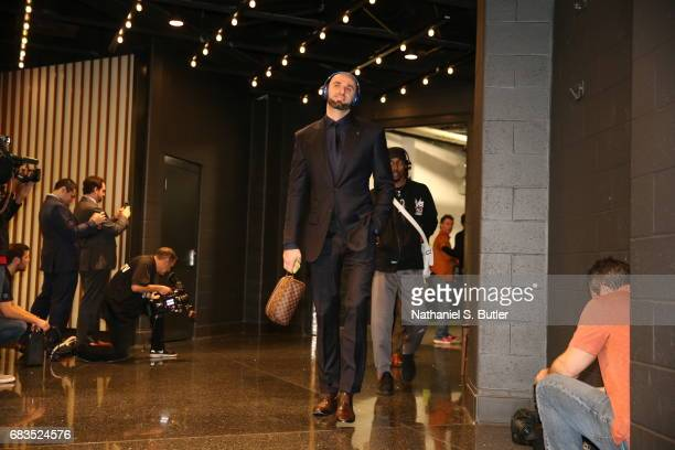 Marcin Gortat of the Washington Wizards arrives before the game against the Boston Celticsduring Game Seven of the Eastern Conference Semifinals of...