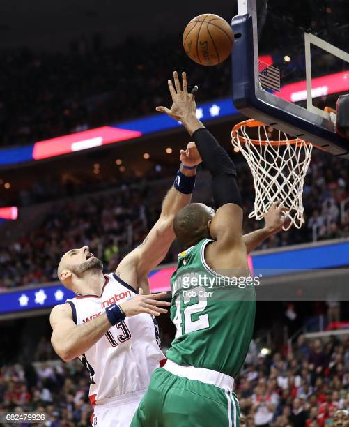 Marcin Gortat of the Washington Wizards defends against Al Horford of the Boston Celtics during Game Six of the NBA Eastern Conference SemiFinals at...