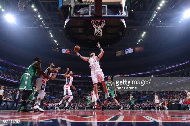 Marcin Gortat of the Washington Wizards grabs the rebound against the Boston Celtics during Game Six of the Eastern Conference Semifinals of the 2017...