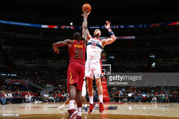 Marcin Gortat of the Washington Wizards handles the ball during the preseason game against the Cleveland Cavaliers on October 8 2017 at Capital One...