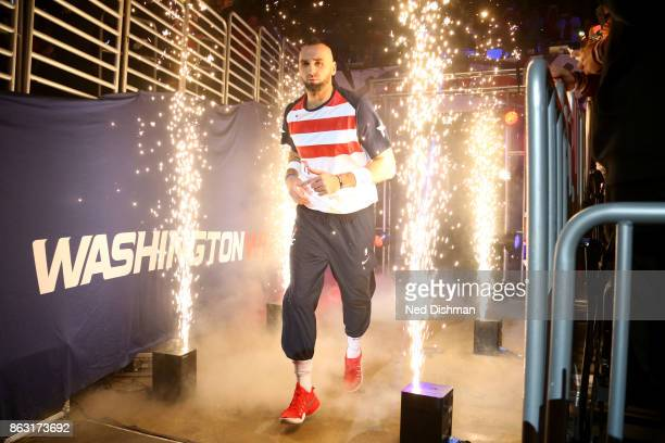 Marcin Gortat of the Washington Wizards is introduced before the game against the Philadelphia 76ers on October 18 2017 at Capital One Arena in...