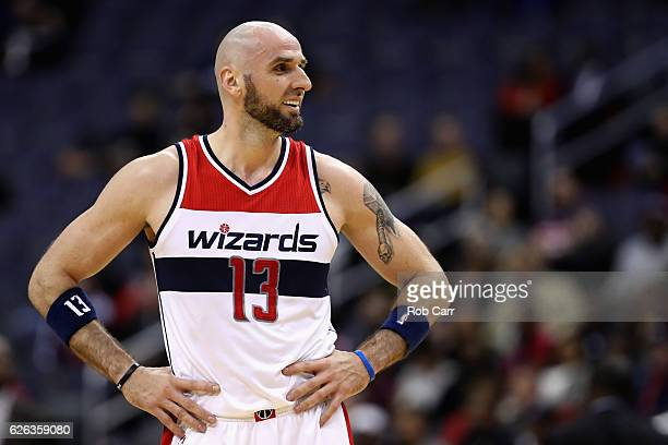 Marcin Gortat of the Washington Wizards looks on after being called for a foul against the Sacramento Kings at Verizon Center on November 28 2016 in...