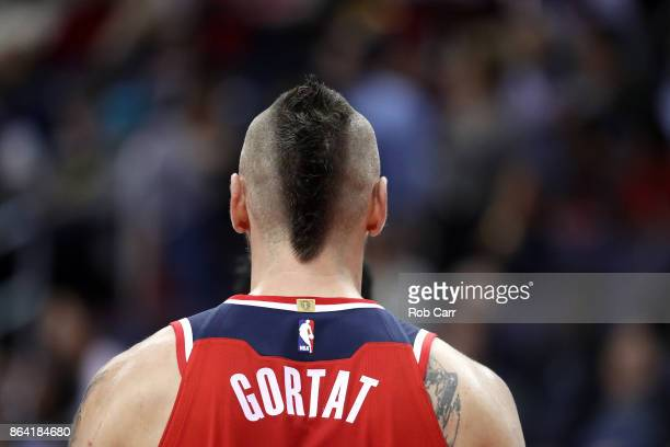 Marcin Gortat of the Washington Wizards looks on against the Detroit Pistons at Capital One Arena on October 20 2017 in Washington DC NOTE TO USER...
