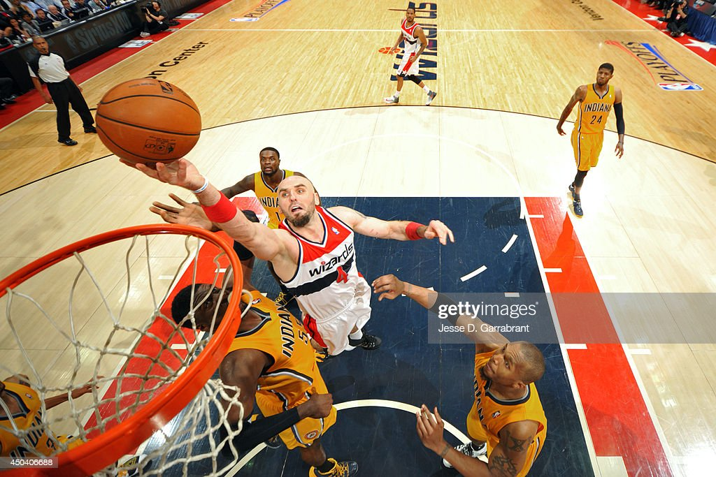 <a gi-track='captionPersonalityLinkClicked' href=/galleries/search?phrase=Marcin+Gortat&family=editorial&specificpeople=589986 ng-click='$event.stopPropagation()'>Marcin Gortat</a> #4 of the Washington Wizards shoots against the Indiana Pacers in Game Six of the Eastern Conference Semifinals on May 15, 2014 at the Verizon Center in Washington, D.C.