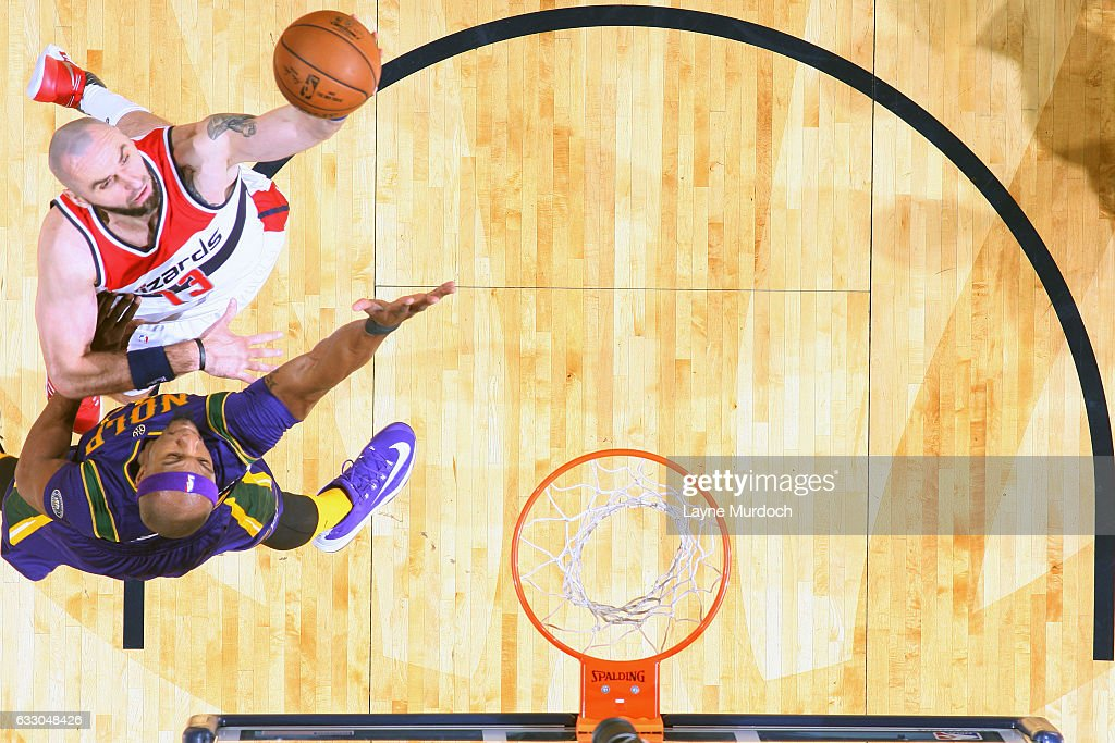 Marcin Gortat #13 of the Washington Wizards shoots the ball against the New Orleans Pelicans during the game on January 29, 2017 at Smoothie King Center in New Orleans, Louisiana.