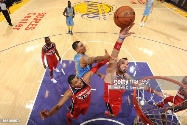 Marcin Gortat of the Washington Wizards shoots the ball against the Los Angeles Lakers on October 25 2017 at STAPLES Center in Los Angeles California...