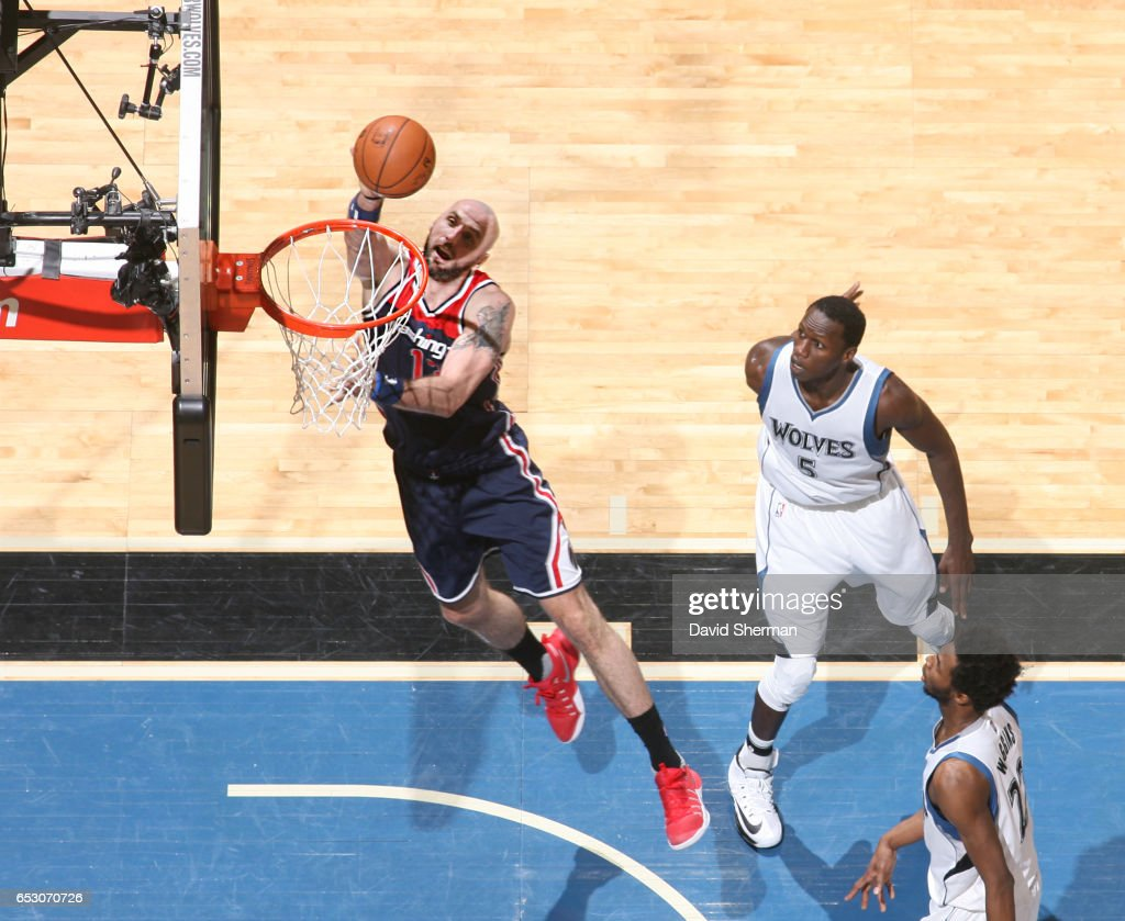 Marcin Gortat #13 of the Washington Wizards shoots the ball during a game against the Minnesota Timberwolves on March 13, 2017 at Target Center in Minneapolis, Minnesota.