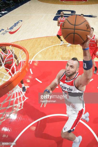 Marcin Gortat of the Washington Wizards shoots the ball during the preseason game against the Guangzhou LongLions on October 2 2017 at Capital One...