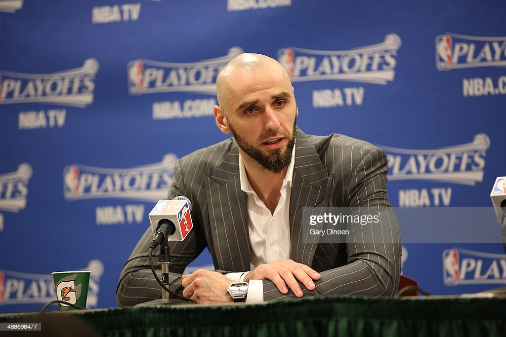 <a gi-track='captionPersonalityLinkClicked' href=/galleries/search?phrase=Marcin+Gortat&family=editorial&specificpeople=589986 ng-click='$event.stopPropagation()'>Marcin Gortat</a> #4 of the Washington Wizards speaks to the media after a game against the Indiana Pacers in Game Two of the Eastern Conference Semifinals of the 2014 NBA playoffs on May 7, 2014 at Bankers Life Fieldhouse in Indianapolis, Indiana.