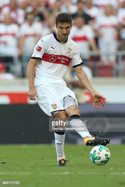 Marcin Kaminiski of Stuttgart in action with the ball during the Bundesliga match between VfB Stuttgart and 1 FSV Mainz 05 at MercedesBenz Arena on...