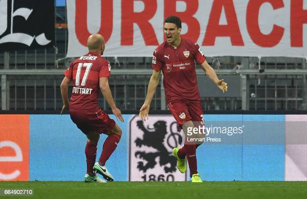 Marcin Kaminski and Tobias Werner of VfB Stuttgart celebrate the equalizing goal during the Second Bundesliga match between TSV 1860 Muenchen and VfB...