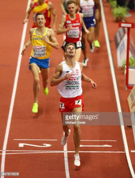Marcin Lewandowski of Poland crosses the finish line to win the gold medal during the Men's 1500 metres final on day two of the 2017 European...