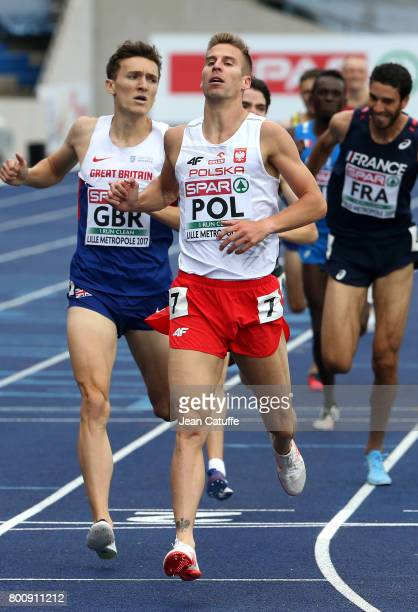 Marcin Lewandowski of Poland wins the 1500m in front of Jake Wightman of Great Britain on day 2 of the 2017 European Athletics Team Championships at...