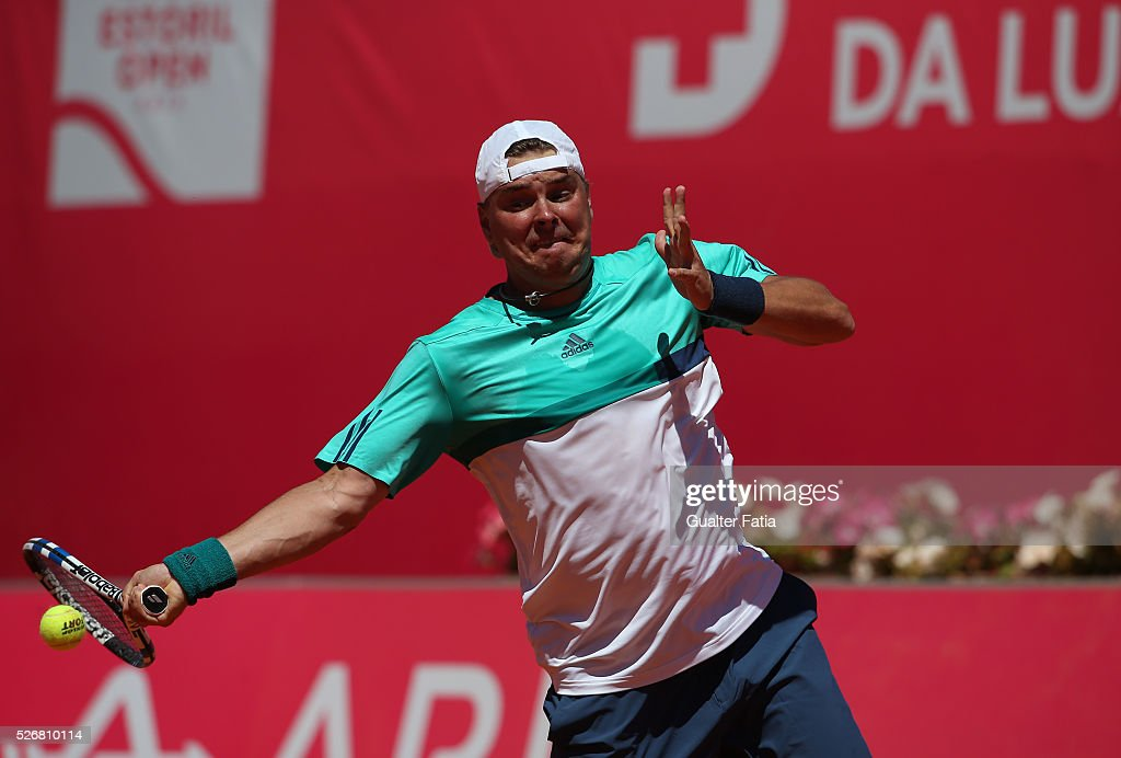 Marcin Matkowski from Poland in action during the doubles final match between Lukasz Kubot and Marcin Matkowski from Poland and Eric Butorac and Scott Lipsky from the United States for Millennium Estoril Open at Clube de Tenis do Estoril on May 1, 2016 in Estoril, Portugal.