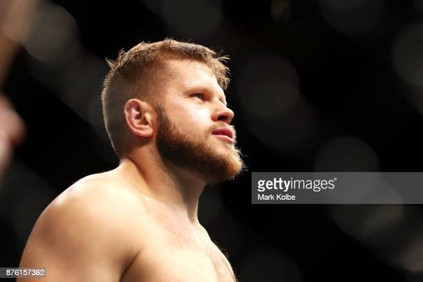 Marcin Tybura of Poland prepares in the Octagon before facing Fabricio Werdum of Brazil in their heavyweight bout during the UFC Fight Night at Qudos...