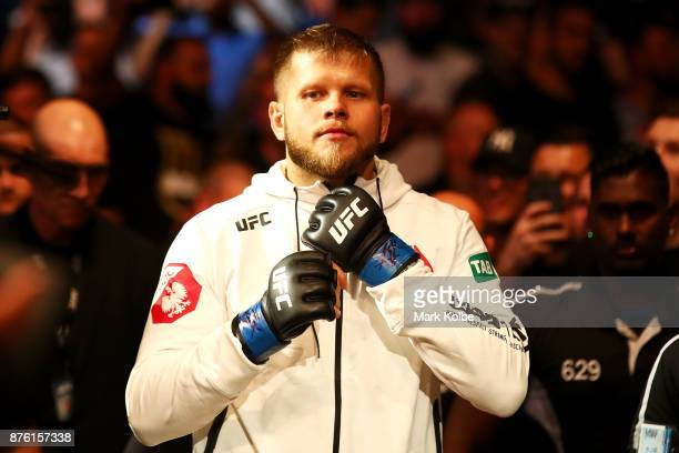 Marcin Tybura of Poland prepares to enter the Octagon before facing Fabricio Werdum of Brazil in their heavyweight bout during the UFC Fight Night at...