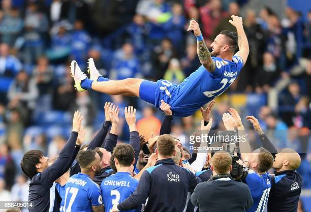 Marcin Wasilewski of Leicester receives the bumps from his team mates after calling time on his Leicester City career after the Premier League match...