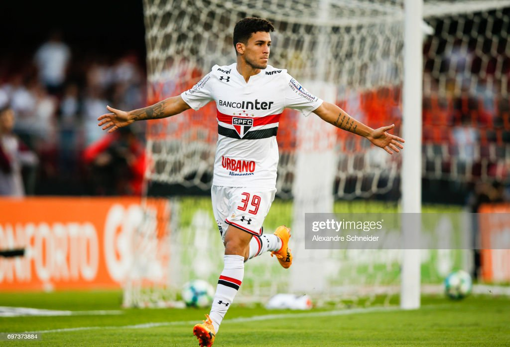 Marcinho of Sao Paulo celebrates their first goal during the match between Sao Paulo and Atletico MG for the Brasileirao Series A 2017 at Morumbi Stadium on June 18, 2017 in Sao Paulo, Brazil.