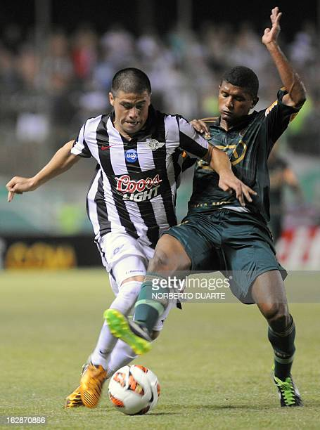 Marcio Araujo of Brazilian Palmeiras vies for the ball with Jorge Moreira of Paraguayan Libertad during their Copa Libertadores football match at the...