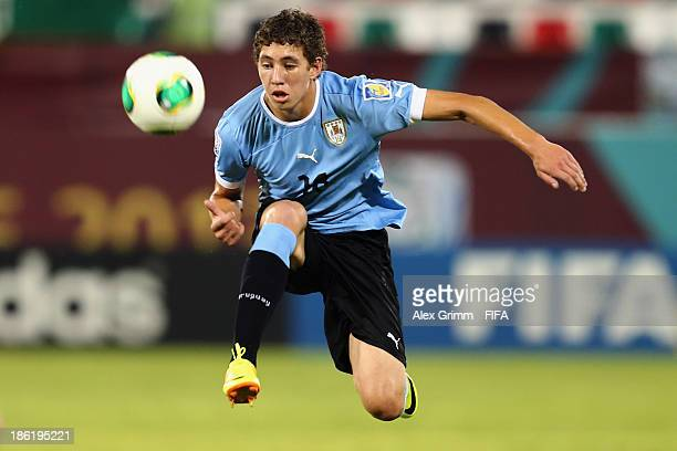 Marcio Benitez of Uruguay controles the ball during the FIFA U17 World Cup UAE 2013 Round of 16 match between Uruguay and Slovakia at Ras Al Khaimah...