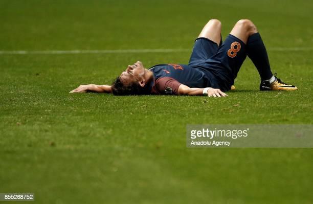 Marcio Mossoro of Medipol Basaksehir gets injured during the UEFA Europa League Group C match between Sporting Braga and Medipol Basaksehir at the...