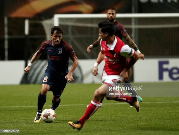 Marcio Mossoro of Medipol Basaksehir in action against Joao Teixeira of Sporting Braga during the UEFA Europa League Group C match between Sporting...