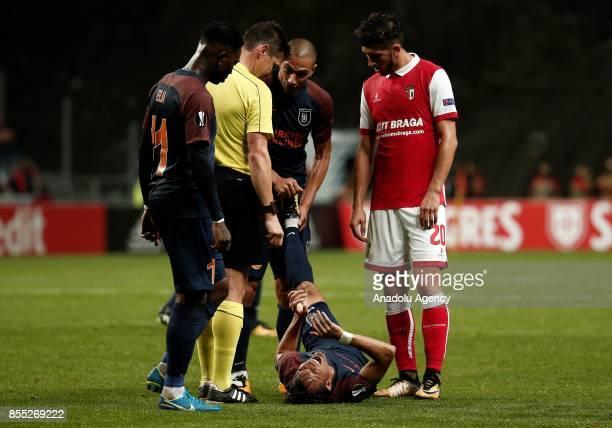 Marcio Mossoro of Medipol Basaksehir injured during the UEFA Europa League Group C match between Sporting Braga and Medipol Basaksehir at the Braga...