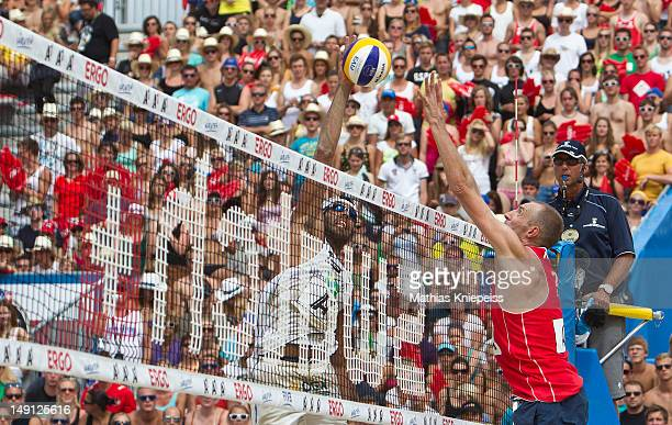 Marcio of Brazil and Richard Schuil of Holland in action during the final match of the A1 Beach Volleyball Grand Slam on July 22 2012 in Klagenfurt...